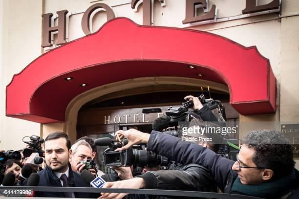 Carlo Sibilia leaves the Hotel Forum after meeting with the deputies of Five Star Movement