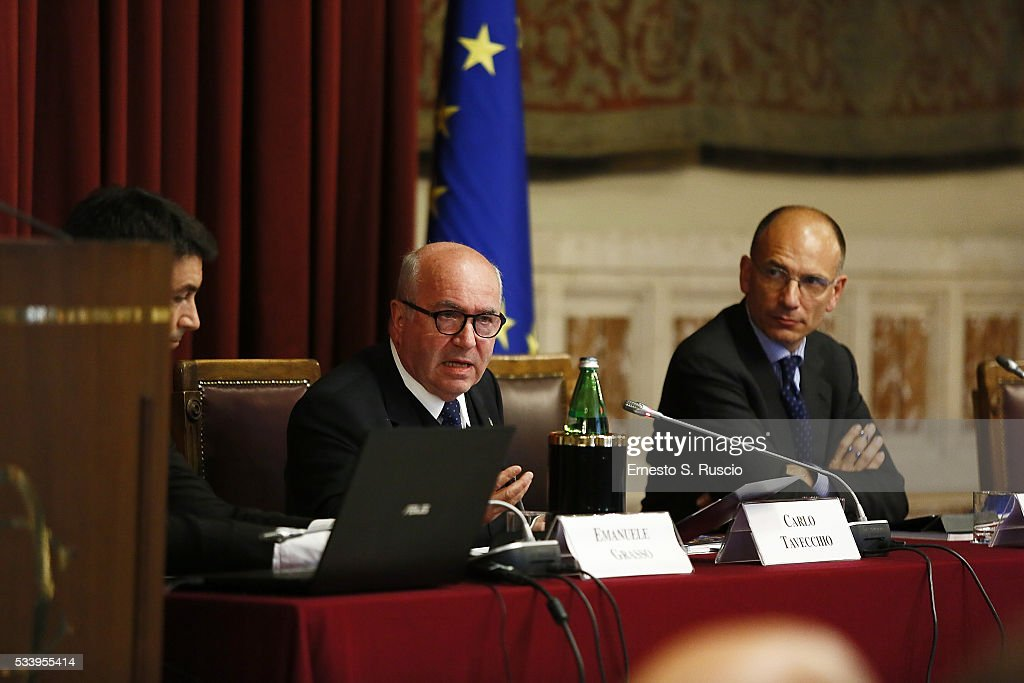 <a gi-track='captionPersonalityLinkClicked' href=/galleries/search?phrase=Carlo+Tavecchio&family=editorial&specificpeople=5365308 ng-click='$event.stopPropagation()'>Carlo Tavecchio</a> and <a gi-track='captionPersonalityLinkClicked' href=/galleries/search?phrase=Enrico+Letta&family=editorial&specificpeople=2915592 ng-click='$event.stopPropagation()'>Enrico Letta</a> attend the Italian Football Federation Unveils Annual Report at Palazzo Montecitorio on May 24, 2016 in Rome, Italy.