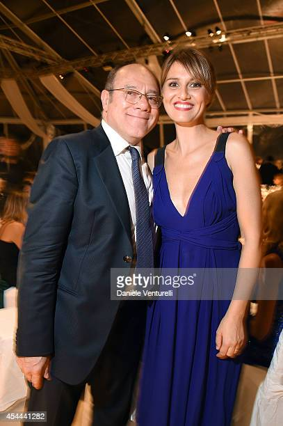 Carlo Verdone and Paola Cortellesi attend Kineo Award Dinner during the 71st Venice Film Festival at Hotel Excelsior on August 31 2014 in Venice Italy