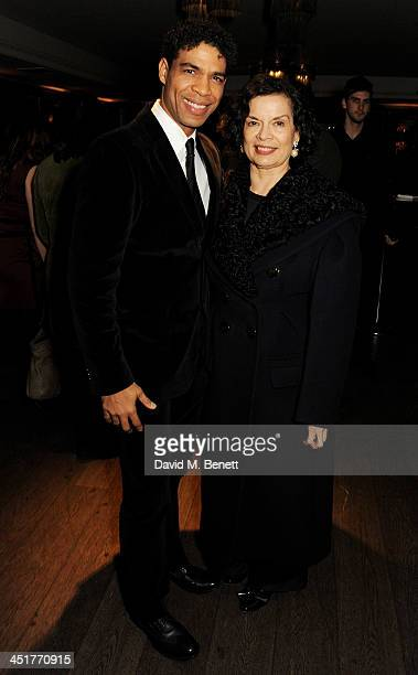 Carlos Acosta and Bianca Jagger attend an after party celebrating the UK Premiere of 'Day Of The Flowers' at The Mayfair Hotel on November 24 2013 in...