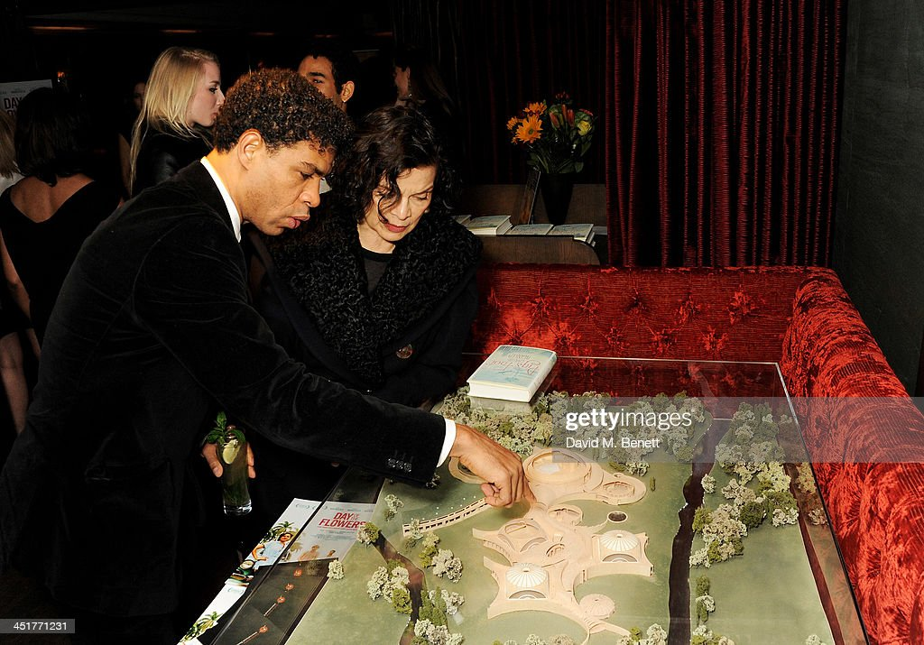 Carlos Acosta (L) and Bianca Jagger attend an after party celebrating the UK Premiere of 'Day Of The Flowers' at The Mayfair Hotel on November 24, 2013 in London, England.