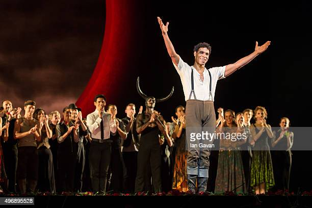 Carlos Acosta salutes the crowd during his final curtain call after performing 'Carmen' for the last time at The Royal Opera House on November 12...