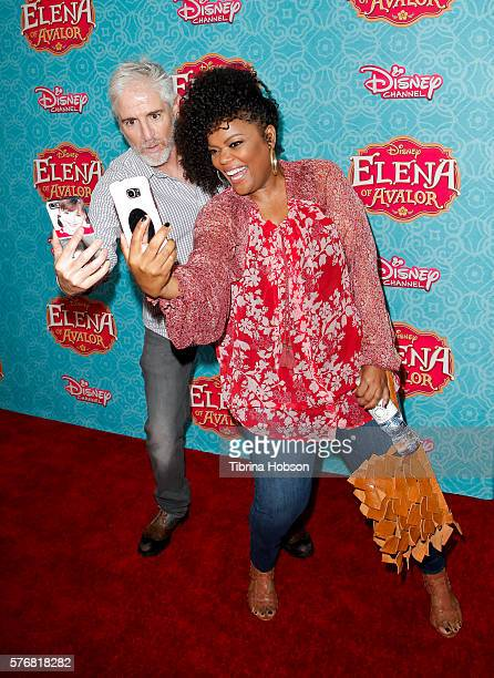 Carlos Alazraqui and Yvette Nicole Brown attend the screening of Disney Channel's 'Elena Of Avalor' at The Paley Center for Media on July 16 2016 in...