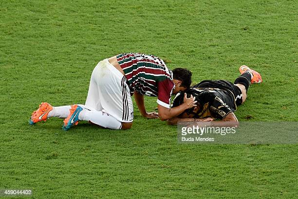 Carlos Alberto of Botafogo reacts during a match between Fluminense and Botofogo as part of Brasileirao Series A 2014 at Maracana Stadium on November...