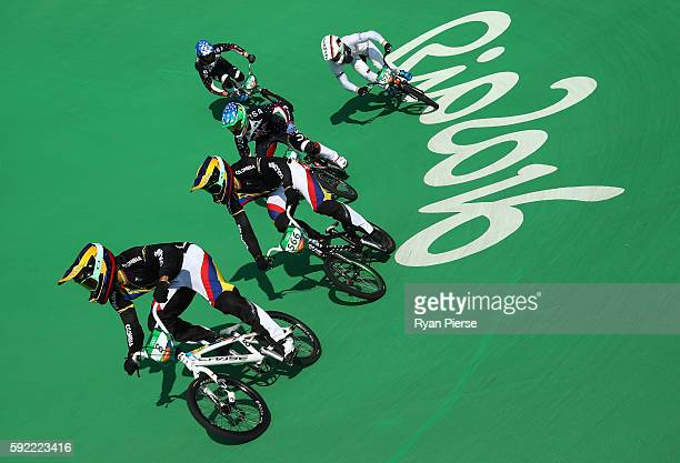 Carlos Alberto Ramirez Yepes of Colombia and Carlos Mario Oquendo Zabala of Colombia compete during the Men's Semi Finals on day 14 of the Rio 2016...
