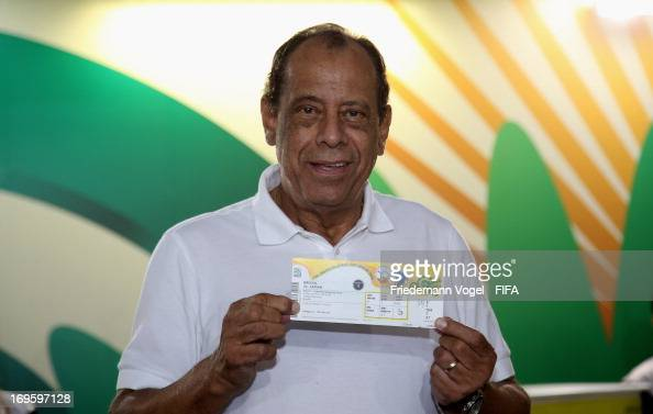 Carlos Alberto Torres get the first ticket during the PreOpening of FIFA Venue Ticketing Centres for the FIFA Confederations Cup Brazil 2013 at the...