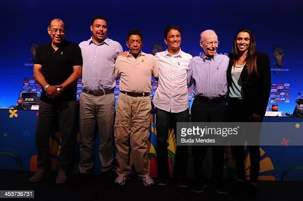 Carlos Alberto Torres Ronaldo Amarildo Bebeto Mario Zagallo and Marta pose after the FIFA World Cup Ambassadors Press Conference during a media day...