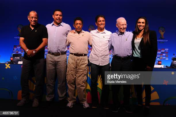 Carlos Alberto Torres Ronaldo Amarildo Bebeto Mario Zagallo and Marta pose after the FIFA World Cup Ambassadors Press Conference during a media day...