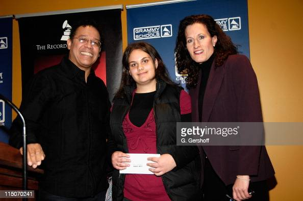 Carlos Alomar winning musician Rosario DiSanto and executive director of The Recording Academy New York chapter Elizabeth Healy at The Recording...