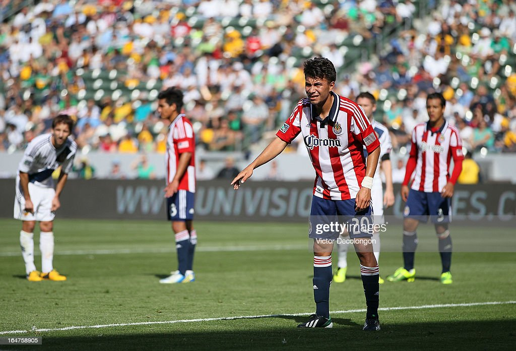 Carlos Alvarez #20 of Chivas USA gets in position prior to a Los Angeles Galaxy corner kick during the MLS match at The Home Depot Center on March 17, 2013 in Carson, California. Chivas USA and the Los Angeles Galaxy played to a 1-1 draw.