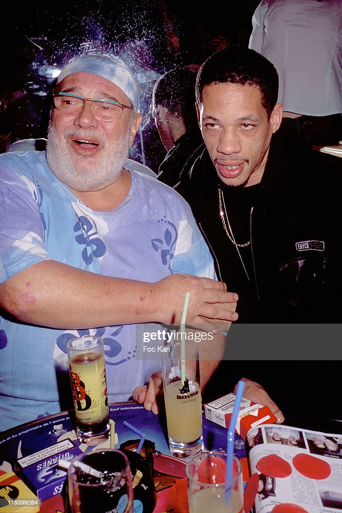 Carlos and <a gi-track='captionPersonalityLinkClicked' href=/galleries/search?phrase=Joey+Starr&family=editorial&specificpeople=2115326 ng-click='$event.stopPropagation()'>Joey Starr</a> (NTM) during Frigide Barjot concert Party at Banana club in Paris, France.