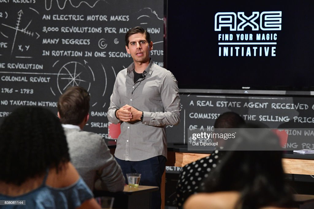 Carlos Andrés Gómez speaks onstage at the announcement of the AXE Senior Orientation program on August 23, 2017 in New York City.
