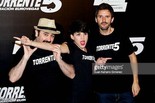 Carlos Areces Angy and Julian Lopez attend 'Torrente 5 Operacion Eurovegas' photocall at Casino Gran Madrid on September 30 2014 in Madrid Spain