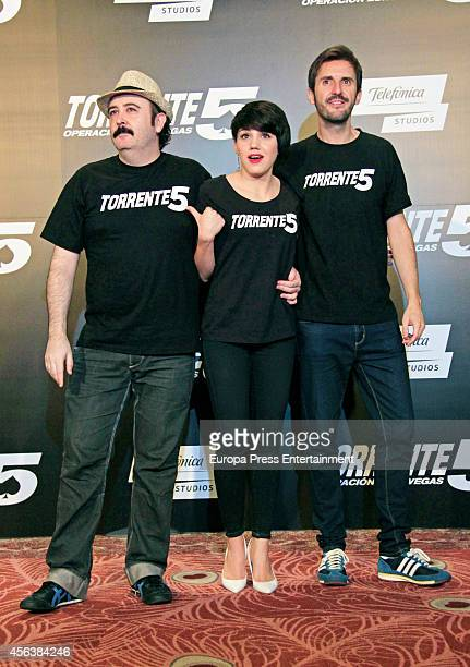 Carlos Areces Angy Fernandez and Julian Lopez attend the 'Torrente 5 Operacion Eurovegas' photocall at Casino Gran Madrid on September 30 2014 in...