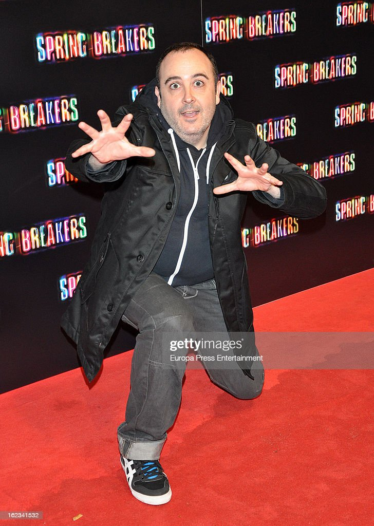 <a gi-track='captionPersonalityLinkClicked' href=/galleries/search?phrase=Carlos+Areces&family=editorial&specificpeople=6547624 ng-click='$event.stopPropagation()'>Carlos Areces</a> attends 'Springbreakers' Madrid Premiere on February 21, 2013 in Madrid, Spain.