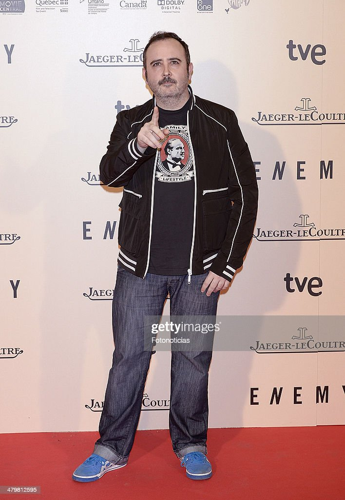 <a gi-track='captionPersonalityLinkClicked' href=/galleries/search?phrase=Carlos+Areces&family=editorial&specificpeople=6547624 ng-click='$event.stopPropagation()'>Carlos Areces</a> attends the premiere of 'Enemy' at Palafox Cinema on March 20, 2014 in Madrid, Spain.