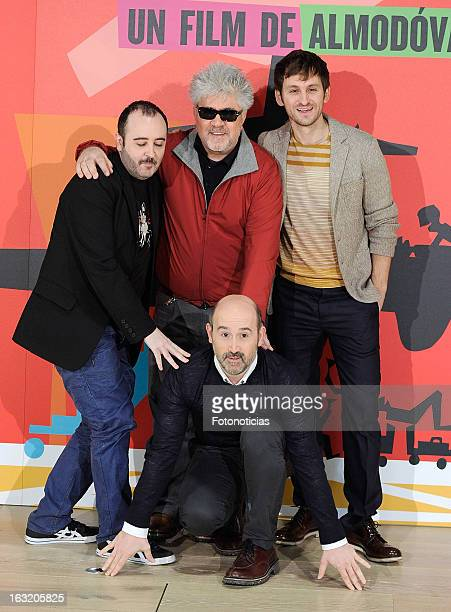 Carlos Areces Pedro Almodovar Raul Arevalo and Javier Camara attend a photocall for 'Los Amantes Pasajeros' at the Espacio Fundacion Telefonica on...