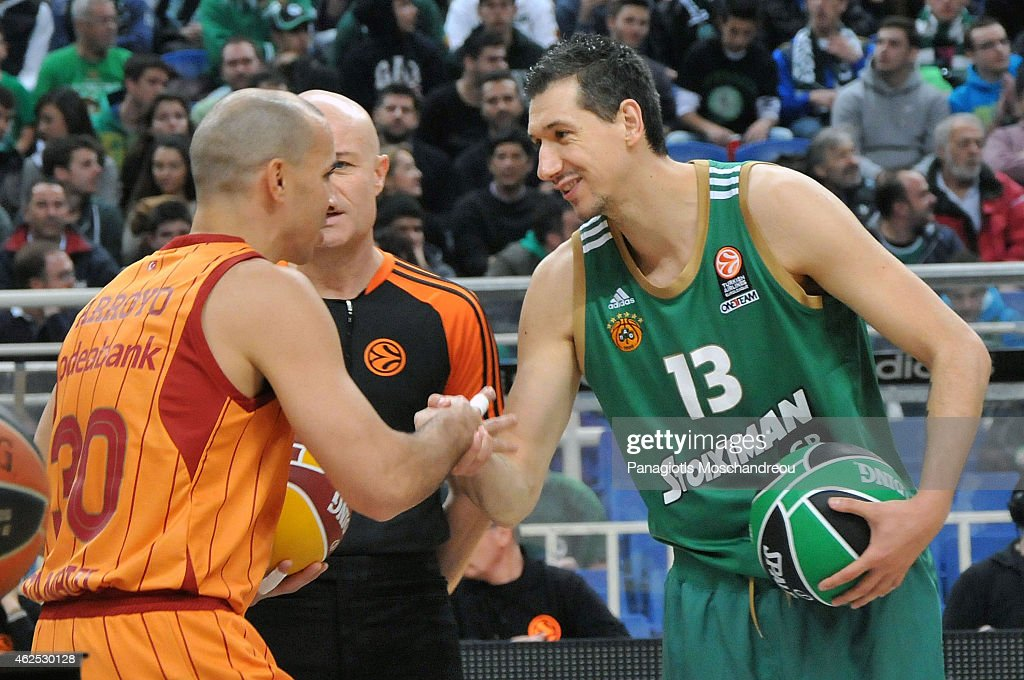 <a gi-track='captionPersonalityLinkClicked' href=/galleries/search?phrase=Carlos+Arroyo&family=editorial&specificpeople=201991 ng-click='$event.stopPropagation()'>Carlos Arroyo</a>, #30 of Galatasaray Liv Hospital Istanbul exchange handshake with Dimitris Diamantidis, #13 of Panathinaikos Athens prior the Euroleague Basketball Top 16 Date 5 game between Panathinaikos Athens v Galatasaray Liv Hospital Istanbul at Olympic Sports Center Athens on January 30, 2015 in Athens, Greece.