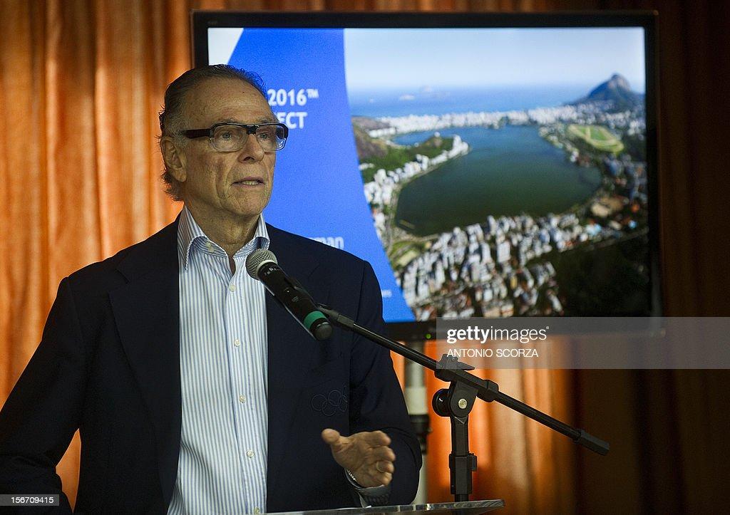Carlos Arthur Nuzman, Brazilian Olympic Committee president and Rio 2016 Olympics commitee president, delivers a speech for the foreing press during a presentation on November 19, 2012 in Rio de Janeiro, Brazil. AFP PHOTO/ANTONIO SCORZA