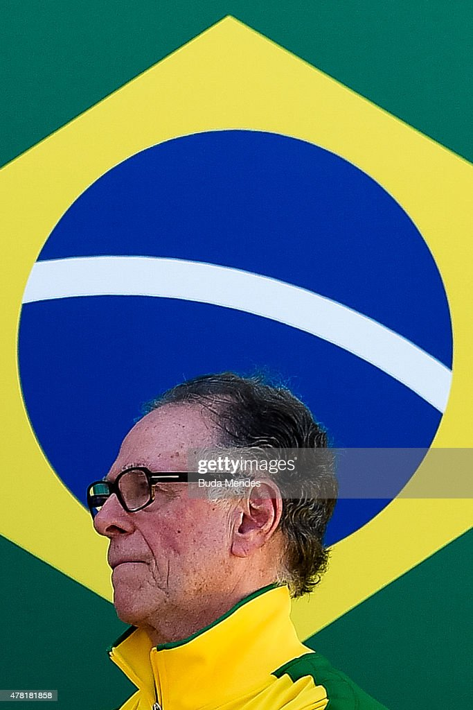 Carlos Arthur Nuzman, President of the Organising Committee for the Rio 2016 Olympics looks on during the Olympic Day celebration and presentation of Brazilian national teams mascot Ginga by the Brazilian Local Organizing Committee at Parque Aquatico Maria Lenk on June 23, 2015 in Rio de Janeiro, Brazil.
