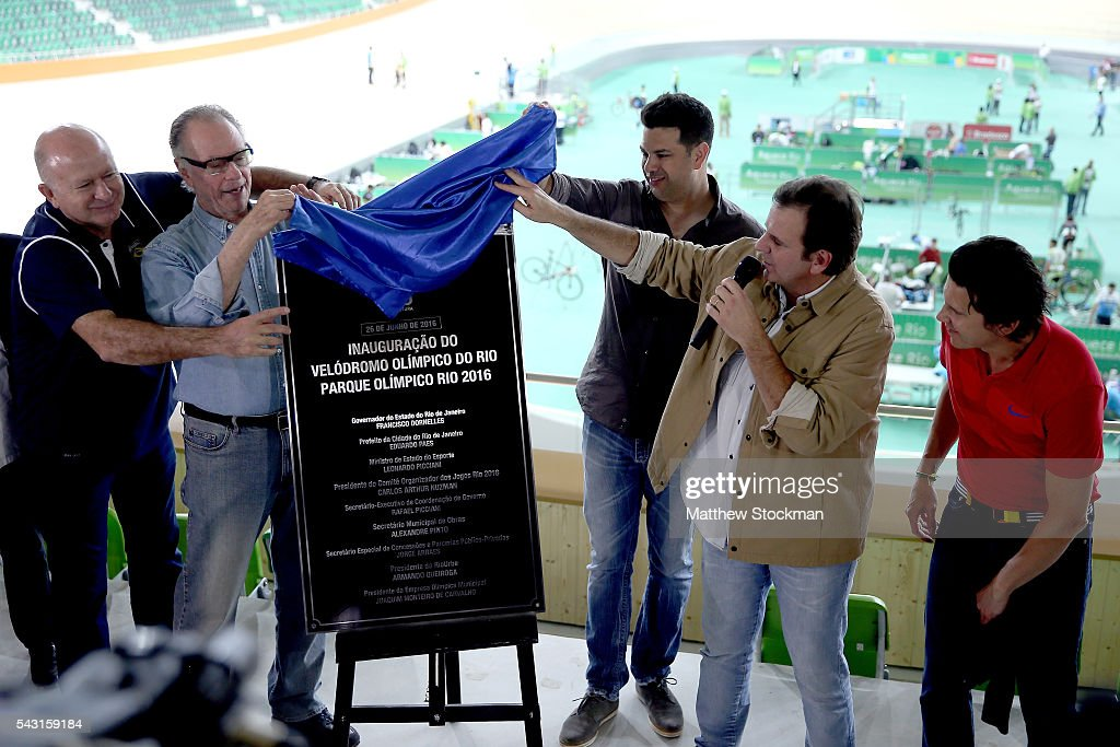 Carlos Arthur Nuzman, President of the Rio 2016 Organizing Committee and Rio de Janeiro Mayor <a gi-track='captionPersonalityLinkClicked' href=/galleries/search?phrase=Eduardo+Paes&family=editorial&specificpeople=5692531 ng-click='$event.stopPropagation()'>Eduardo Paes</a> unveil a plaque at the delivery of the Olympic Velodrome to the Rio 2016 Committee at Olympic Park on June 26, 2016 in Rio de Janeiro, Brazil.