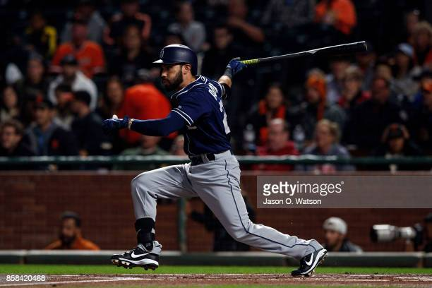 Carlos Asuaje of the San Diego Padres at bat against the San Francisco Giants during the first inning at ATT Park on September 29 2017 in San...