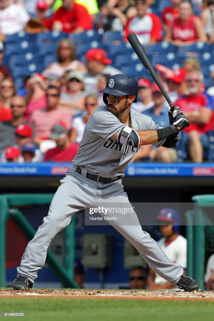 Carlos Asuaje #20 of the San Diego Padres bats in the second inning during a game against the Philadelphia Phillies at Citizens Bank Park on July 8, 2017 in Philadelphia, Pennsylvania. The Padres won 2-1.