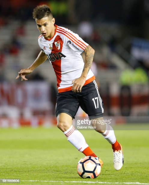Carlos Auzqui of River Plate drives the ball during a group stage match between River Plate and Emelec as part of Copa CONMEBOL Libertadores...