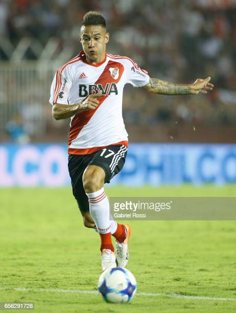 Carlos Auzqui of River Plate drives the ball during a match between Lanus and River Plate as part of Torneo Primera Division 2016/17 at Ciudad de...