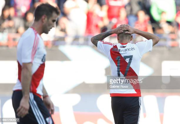 Carlos Auzqui of River Plate reacts after missing a goal during a match between San Lorenzo and River Plate as part of Torneo Primera Division...