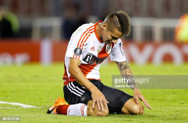 Carlos Auzqui of River Plate reacts during a group stage match between River Plate and Emelec as part of Copa CONMEBOL Libertadores Bridgestone 2017...