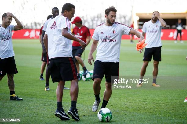 Carlos Bacca and Hakan Calhanoglu of AC Milan was training at Universiade Sports Centre Stadium on July 21 2017 in Shenzhen China