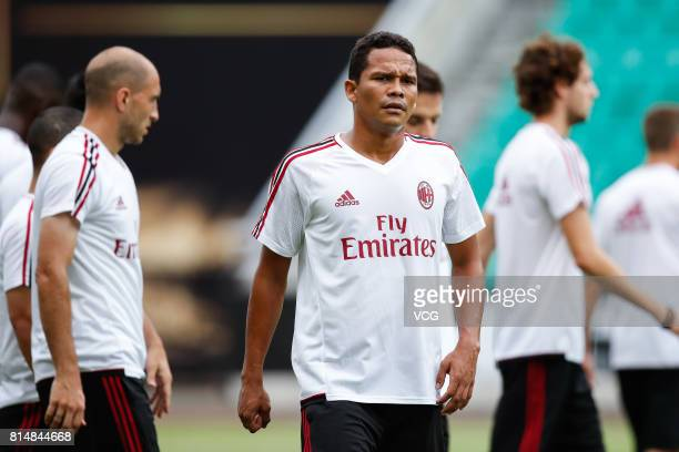 Carlos Bacca of AC Milan attends a training session ahead of 2017 International Champions Cup China at University Town Sports Centre Stadium on July...