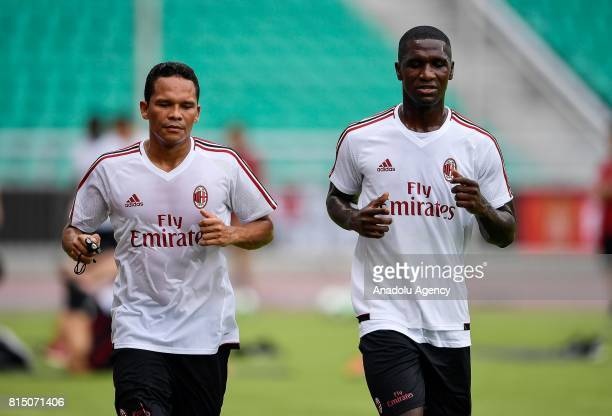 Carlos Bacca of AC Milan attends a training session ahead of the 2017 International Champions Cup football match between AC Milan and Borussia...