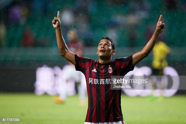 Carlos Bacca of AC Milan celebrates after scoring a goal at University Town Sports Centre Stadium on July 18 2017 in Guangzhou China