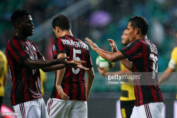 Carlos Bacca of AC Milan celebrates after scoring a goal at University Town during the 2017 International Champions Cup football match between AC...