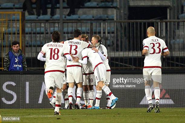 Carlos Bacca of AC Milan celebrates after scoring a goal during the Serie A match between Empoli FC and AC Milan at Stadio Carlo Castellani on...