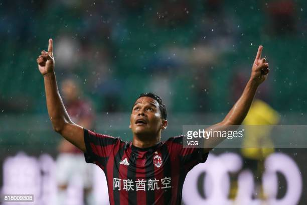 Carlos Bacca of AC Milan celebrates after scoring his team's first goal during the 2017 International Champions Cup China between AC Milan and...