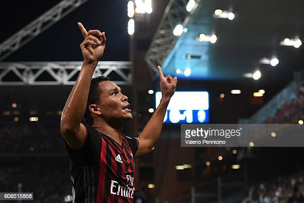 Carlos Bacca of AC Milan celebrates after scoring the opening goal during the Serie A match between UC Sampdoria and AC Milan at Stadio Luigi...