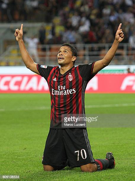 Carlos Bacca of AC Milan celebrates after scoring the opening goal during the Serie A match between AC Milan and SS Lazio at Stadio Giuseppe Meazza...