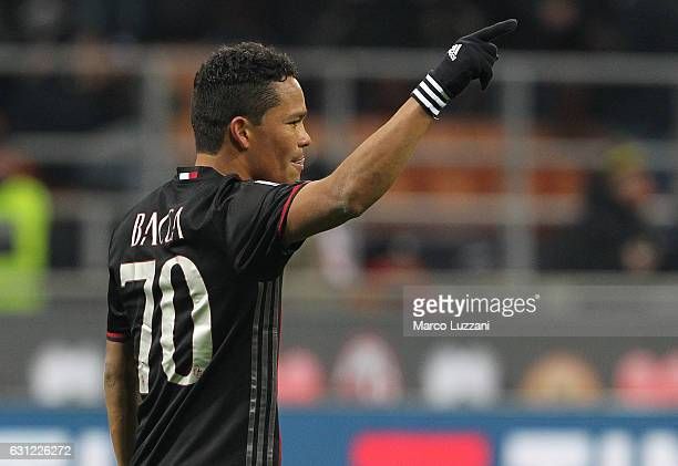 Carlos Bacca of AC Milan celebrates after scoring the opening goal during the Serie A match between AC Milan and Cagliari Calcio at Stadio Giuseppe...