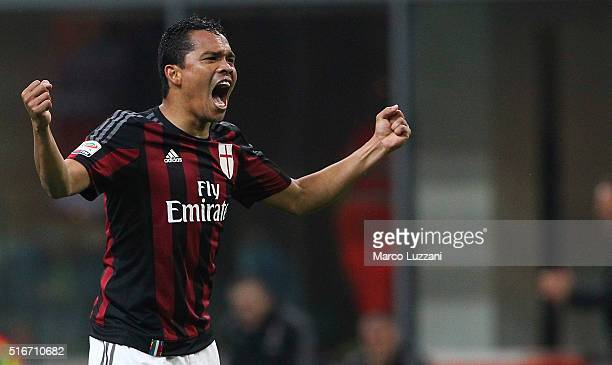 Carlos Bacca of AC Milan celebrates his goal during the Serie A match between AC Milan and SS Lazio at Stadio Giuseppe Meazza on March 20 2016 in...