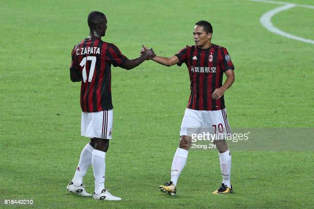 Carlos Bacca of AC Milan celebrates his goal with Cristian Zapata of AC Milan during the 2017 International Champions Cup football match between AC...
