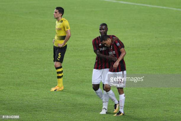 Carlos Bacca of AC Milan celebrates his goal with M'Baye Niang of AC Milan during the 2017 International Champions Cup football match between AC...