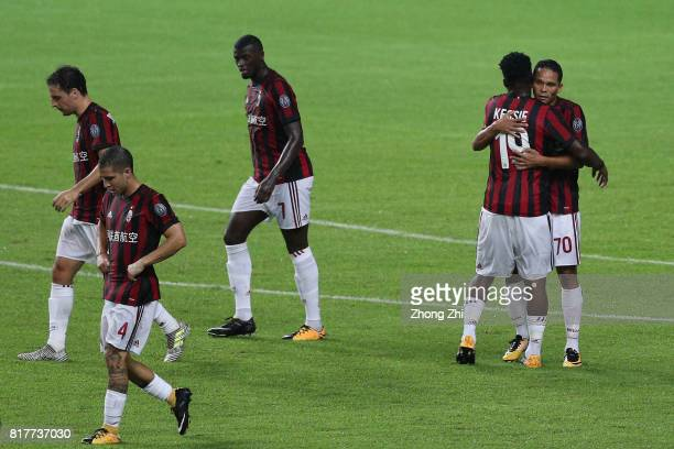 Carlos Bacca of AC Milan celebrates his goal with teammates during the 2017 International Champions Cup football match between AC Milan and Borussia...
