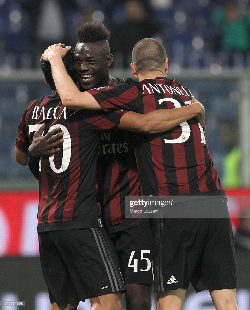 <a gi-track='captionPersonalityLinkClicked' href=/galleries/search?phrase=Carlos+Bacca&family=editorial&specificpeople=6724246 ng-click='$event.stopPropagation()'>Carlos Bacca</a> (L) of AC Milan celebrates with his team-mates <a gi-track='captionPersonalityLinkClicked' href=/galleries/search?phrase=Mario+Balotelli&family=editorial&specificpeople=4940446 ng-click='$event.stopPropagation()'>Mario Balotelli</a> (C) and <a gi-track='captionPersonalityLinkClicked' href=/galleries/search?phrase=Luca+Antonelli&family=editorial&specificpeople=5358809 ng-click='$event.stopPropagation()'>Luca Antonelli</a> (R) after scoring the opening goal during the Serie A match between UC Sampdoria and AC Milan at Stadio Luigi Ferraris on April 17, 2016 in Genoa, Italy.
