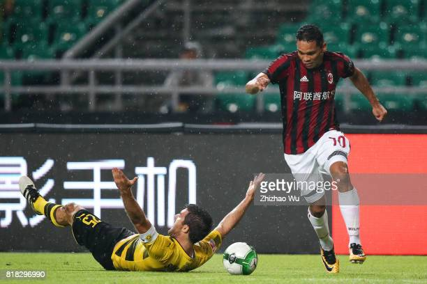 Carlos Bacca of AC Milan controls the ball at University Town during the 2017 International Champions Cup football match between AC milan and...