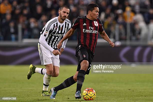 Carlos Bacca of AC Milan in action against Leonardo Bonucci of Juventus FC during the Serie A match between Juventus FC and AC Milan at Juventus...