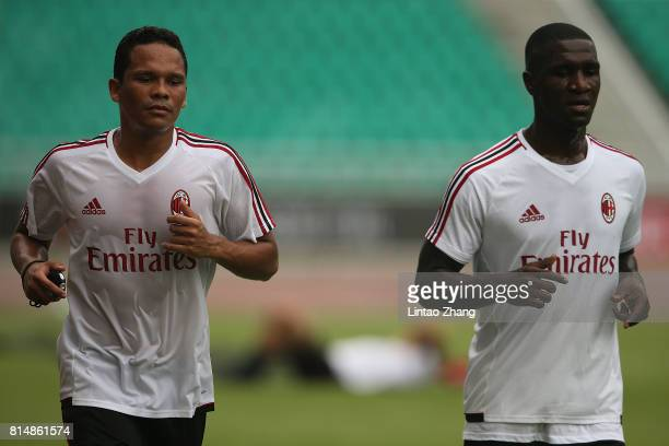 Carlos Bacca of AC Milan in action duirng training session ahead of the 2017 International Champions Cup football match between AC milan and Borussia...
