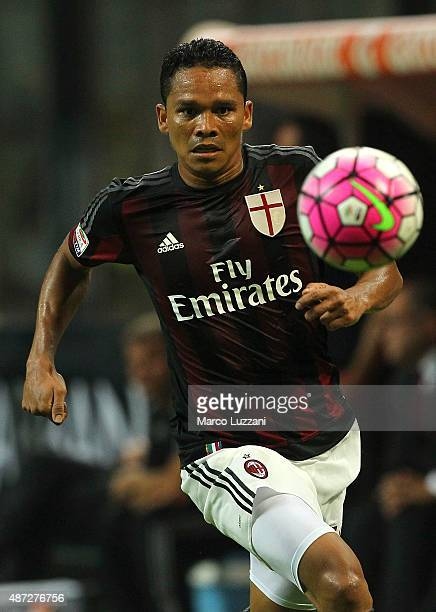 Carlos Bacca of AC Milan in action during the Serie A match between AC Milan and Empoli FC at Stadio Giuseppe Meazza on August 29 2015 in Milan Italy
